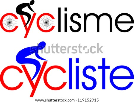 cycling, cyclist in french - stock vector