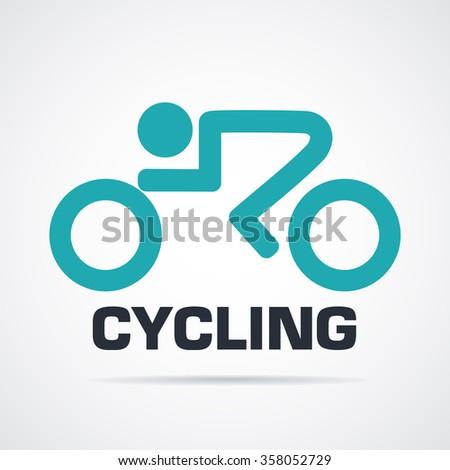 Cycling graphic symbol, logo icon - stock vector