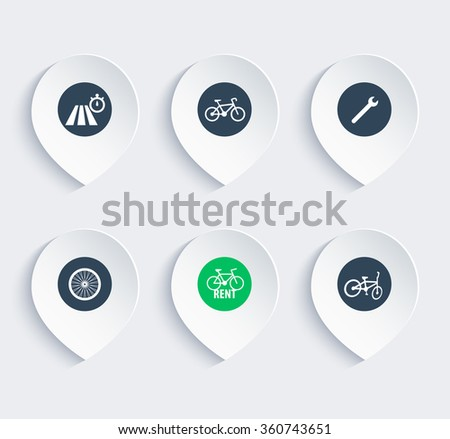 cycling icons on marks, map pointers, vector illustration - stock vector
