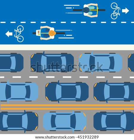 Cycling in the city. Bike Lane. Traffic jam. - stock vector