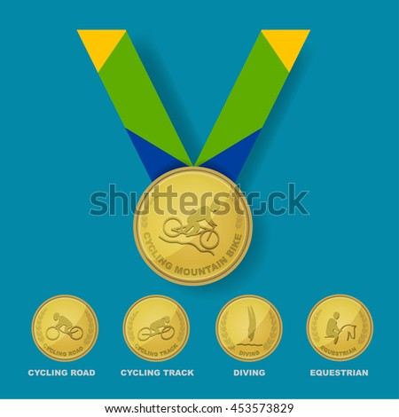Cycling mountain bike sport icon on gold medal award with Brazilian color theme designed ribbon with isolate cycling road, cycling track, diving and equestrian sport icons for Brazil summer game - stock vector
