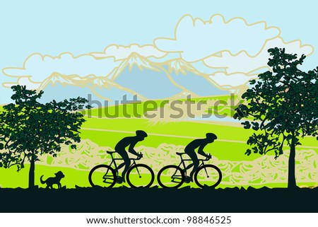 Cycling  Poster - stock vector