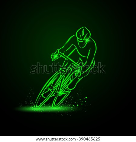 Cycling race. Front view. Vector neon illustration. - stock vector