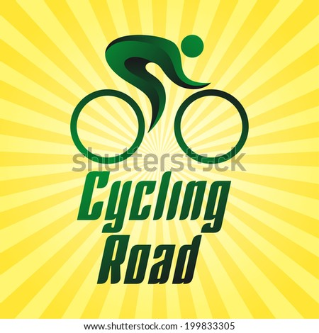 Cycling road, sportsmen on yellow striped background, summer sports icons, vector illustration - stock vector