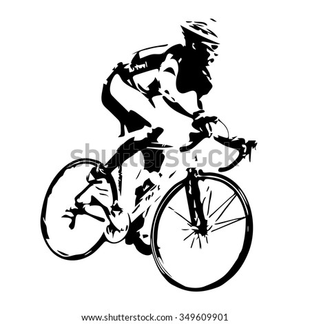 Cycling silhouette. Bicycle rider vector - stock vector