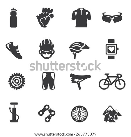 Cycling Silhouette icons  - stock vector