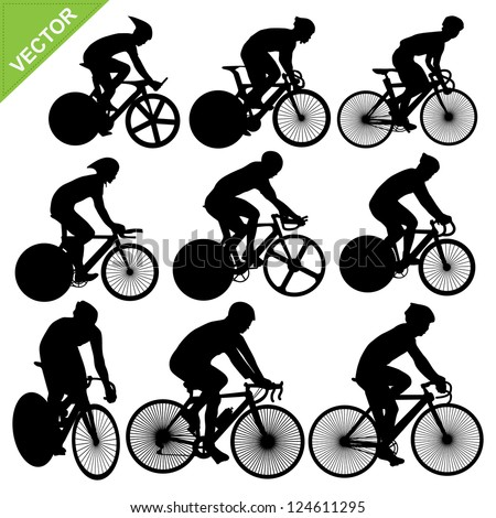 Cycling silhouettes vector - stock vector