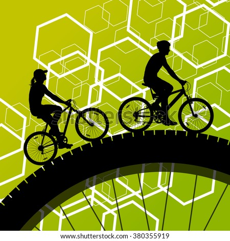 Cyclist active man and woman bicycle riders in abstract sport landscape background illustration vector - stock vector