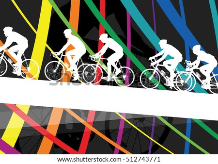 Cyclist active man and woman bicycle riders in abstract sport landscape background illustration vector