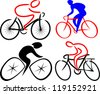 cyclist, bicyclist - silhouettes - stock photo