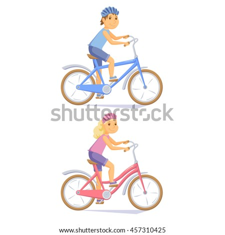 Cyclist children on kid bike. Cute kids riding bicycle. Cyclist girl an boy. Child cycling journey. Cyclist cartoon character vector illustration. Cycle cute girl and little boy. - stock vector