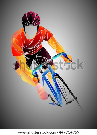 cyclist, cycling - stock vector