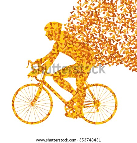 Cyclist cycling sport fast orange vector abstract background concept made of fragments isolated over white - stock vector