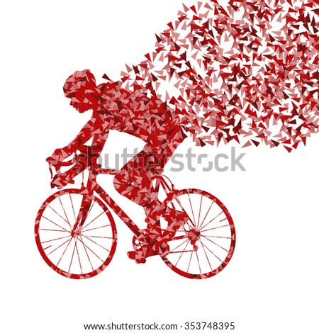 Cyclist cycling sport red fast vector abstract background concept made of fragments isolated over white - stock vector