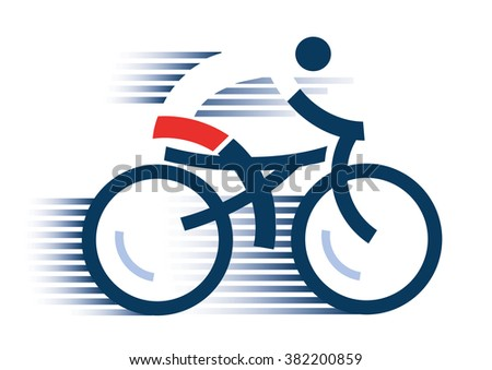 Cyclist icon. Abstract stylized cyclist on the white background. Vector available.