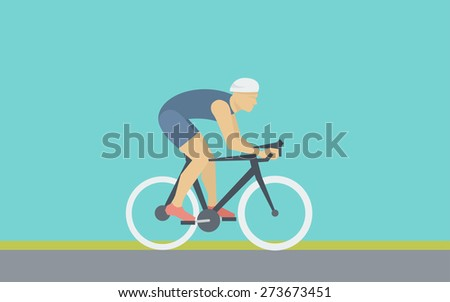 Cyclist Rides a Bicycle - Simple Illustration in Flat Style - stock vector
