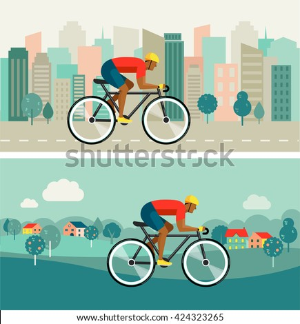 cyclist riding on bicycle on city and countryside, vector poster - stock vector