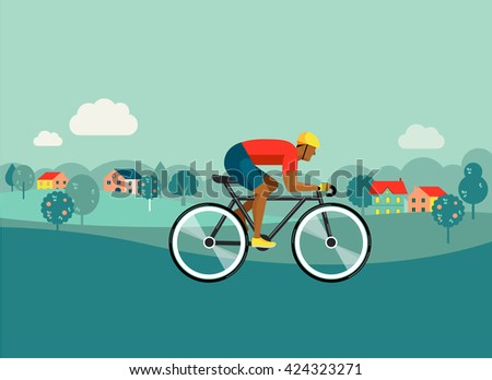 cyclist riding on bicycle on countryside, vector illustration and poster - stock vector