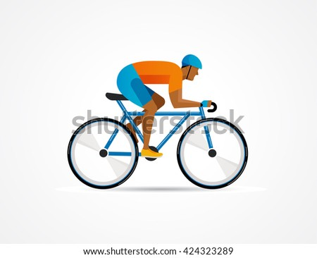 cyclist riding on bicycle, vector illustration and poster - stock vector