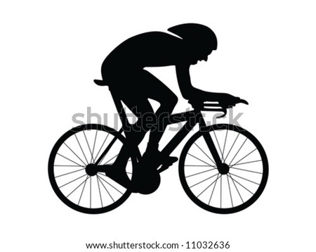 Cyclist silhouette isolated on a white background - stock vector