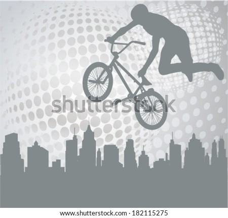 cyclist silhouette on the abstract background