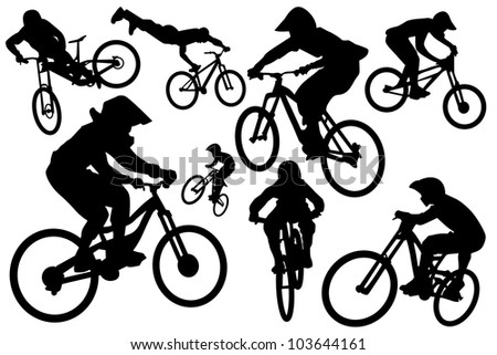 Cyclist silhouettes - stock vector