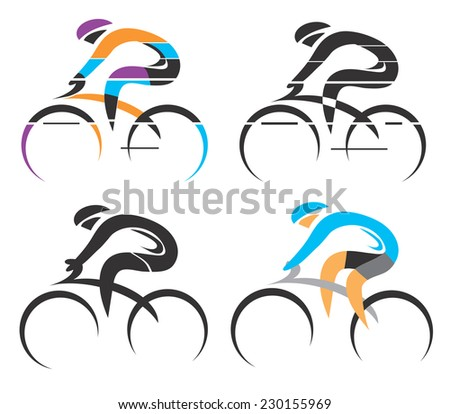 Cyclist symbols. Four modern stylized colorful and black symbols of sport cyclist. Vector illustration.