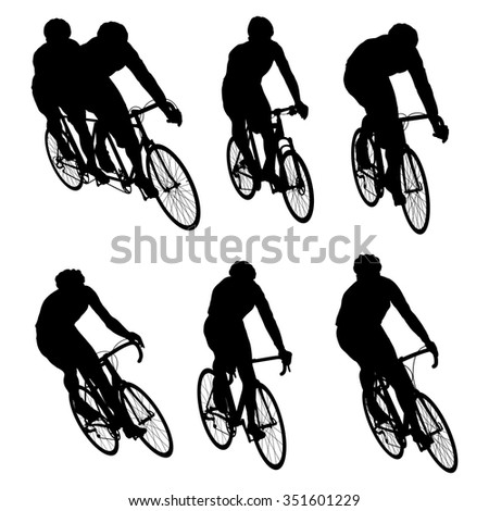Cyclists in action vector set background illustration concept