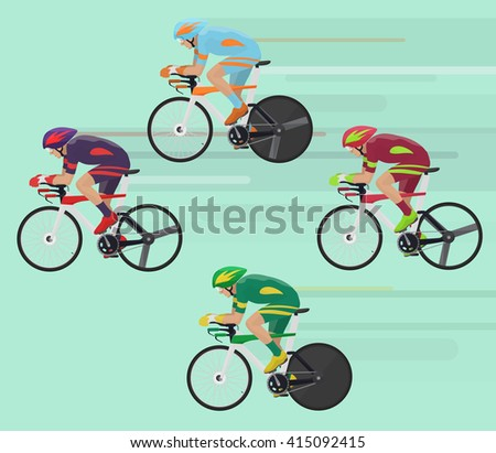 Cyclists man on road race bicycle racing concept. Cyclists man illustration, race bicycle racing concept, Cyclist image, bicycle man illustration, bicycle man image, Cyclist bicycle sport set. - stock vector