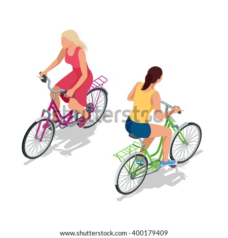 Cyclists on bicycle, Riding bicycle, cyclist road, Cyclists sport, Cyclists people, Cyclist healthy lifestyle, cyclist isolated, Cyclists vector, Cyclists isometric, Cyclists icon, Cyclists isometric - stock vector