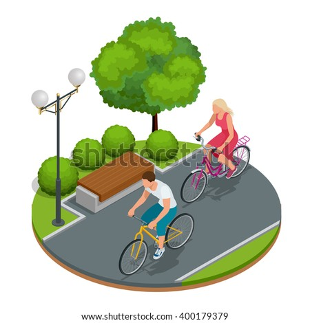 Cyclists on bicycle. Riding bicycle outdoors at summer. Bicycle and bicycling. Fitness, sport, people and healthy lifestyle concept. Flat 3d vector isometric illustration - stock vector