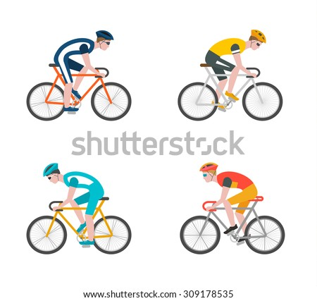 Cyclists on bikes, icons set isolated on white background, vector illustration. People riding bikes; bikers and bicycling; sport and  exercise - stock vector