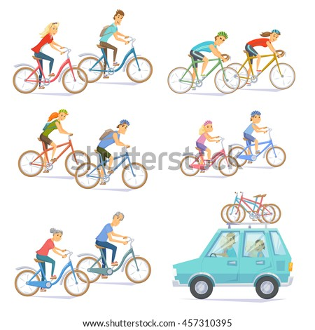 Cyclists on bikes set. People riding bicycle. Urban and racing, kids, road bike. Car with bicycles on top rack. Cyclists man and woman, seniors couple, children. Bicyclist cartoon character vector - stock vector