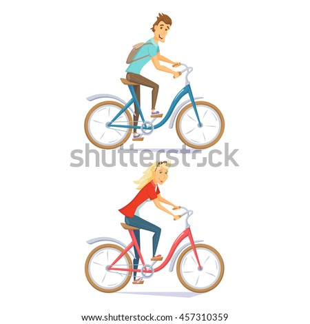 Cyclists on urban bikes set. People riding street bicycle. Cyclists man and woman. Couple cycling on roadster. Cyclist cartoon character vector illustration. Holiday urban leisure - stock vector