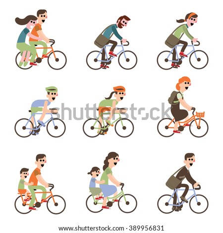 Cyclists riding bike set including tandem bicycle. Adult young man and woman riding bicycles and couple riding. Dad and kids ride bikes, vector illustration - stock vector