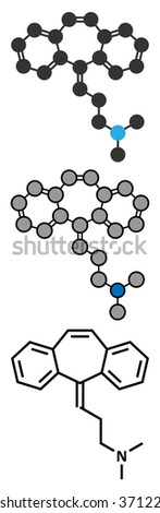 Cyclobenzaprine muscle spasm drug molecule. Conventional skeletal formula and stylized representations. - stock vector