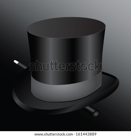 Cylinder hat magician with a magic wand. Vector illustration. - stock vector