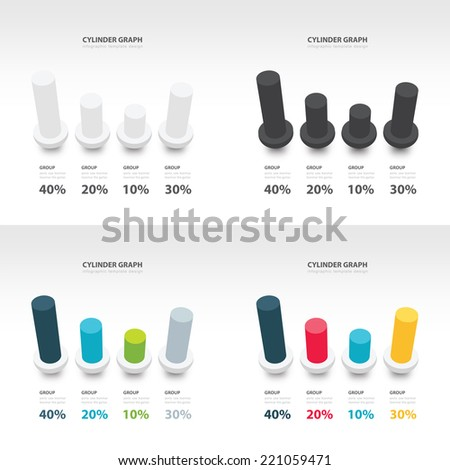 cylinder infographic 3d graph template set - stock vector