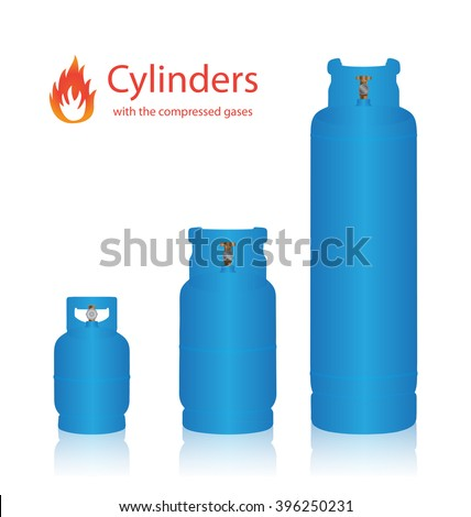 Cylinders with the compressed gases on a white background - stock vector