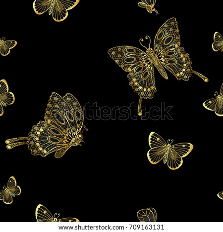 Cymbidium Orchids And Butterfly Pattern By Hand DrawingGold Flower Vector On Black Background