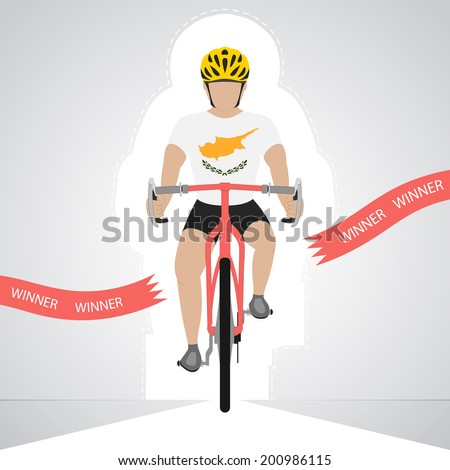 Cyprian cyclist in front view crossing red finish line vector isolated illustration - stock vector