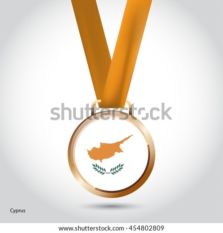 Cyprus Flag in Bronze Medal. Olympic Game Bronze Medal. Vector Illustration - stock vector