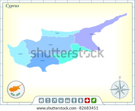 Cyprus Map with Flag Buttons and Assistance & Activates Icons Original Illustration - stock vector