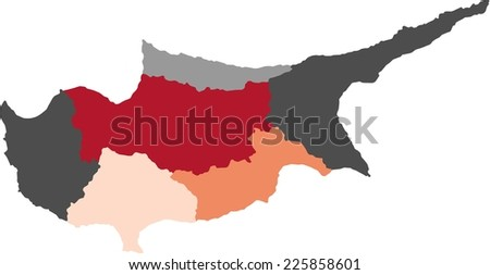 Cyprus Political Map Pastel Colors Stock Vector 225858601 Shutterstock