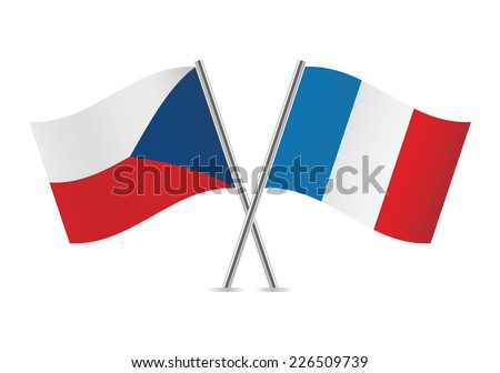 Czech and French flags. Vector illustration. - stock vector