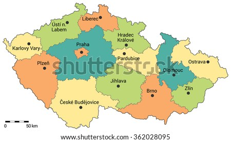 Czech republic administrative map. Regions, capital city and regional cities on the map with scale. - stock vector
