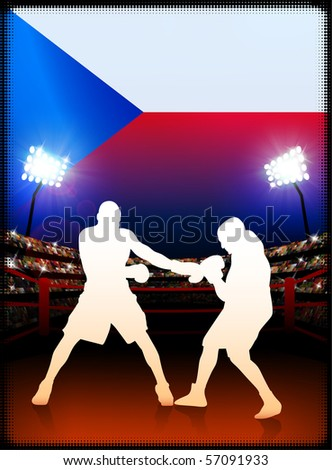 Czech Republic Flag with Boxer on Stadium Background Original Illustration - stock vector