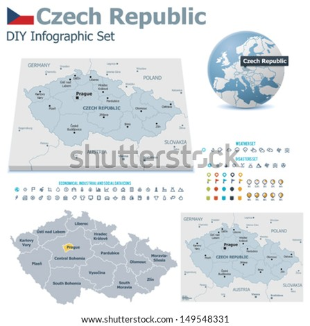 Czech Republic maps with markers - stock vector
