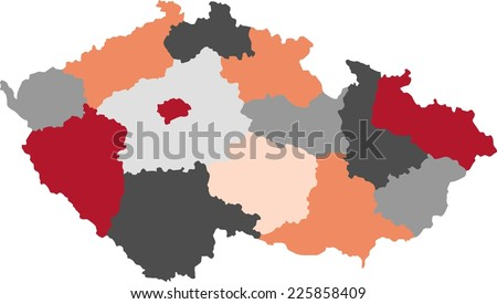 Czech Republic political map with pastel colors. - stock vector