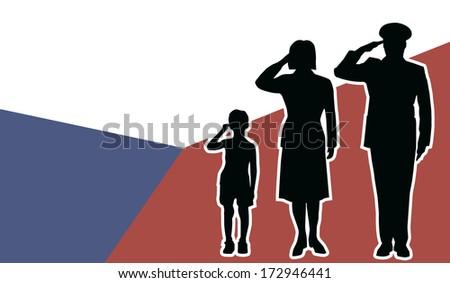 Czech Republic soldier family salute - stock vector